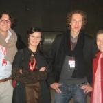 Ana-felicia Scutelnicu, Mariette Rissenbeek, Jakob D. Weydemann and Jonas Weydemann before the premiere of Panihida.