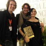 Ana-Felicia Scutelnicu, Jonas & Jakob Weydemann with the CinemaXXI Award for Panihida.